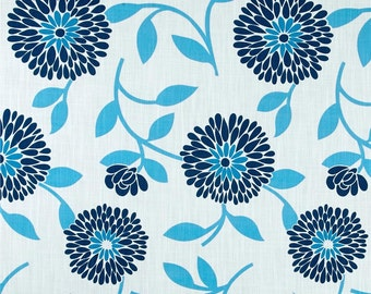 "Two  96"" x 50""  Custom Curtain Panels - Rod Pocket Panels -  Floral Blue"