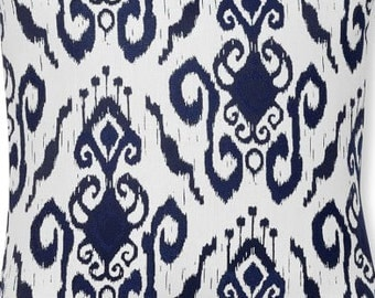 Two 20 x 20  Custom Designer Decorative Pillow Covers for Indoor/Outdoor - Ikat - Navy Blue OR Cherry Red