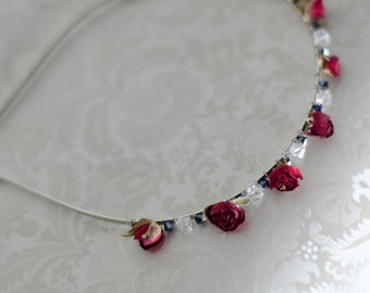 Holiday Headband Real Mini Dark Red Dried Roses with Swarovski Crystals - Ready to Ship