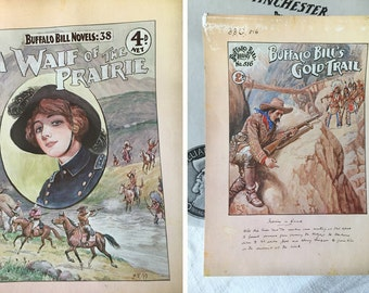 4 Buffalo Bill dime novel cover prints Robert Prowse for Winchester Western Ammunition 1978 4 posters and original envelope