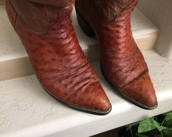 Ostrich Cowboy Boots Vintage Tony Lama Black Label Men's Full Quill Ostrich Western Cowboy Boots