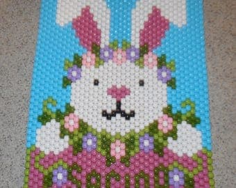 Handmade Cute Spring Easter Bunny Beaded Banner with Nylon Cord