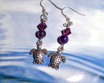 Pair of Sterling Silver, sea turtle, honu, Amethyst, February birthstone, earrings.
