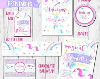 Unicorn Party theme, Printable Unicorn invitation, Rainbow Birthday, Unicorn invite, Unicorn Birthday Printables