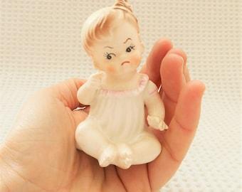 Grumpy Baby Vintage Ceramic Figure Toddler Cute Novelty