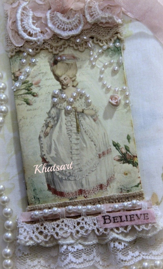 Marie Antoinette Gift Tag, Mixed Media, Collage Gift Tag, Lace, Gift Topper, Home Decor Tag, Shabby Vintage, Cottage Chic Style, Ornament