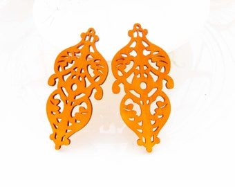 Dyeing Series - 6 PCS 29x 60 mm Filigree Variety of Colors Gothic Style Wood Dangle/ Wooden Charm/Pendant /Wood Shape / Wood Earrings NM137