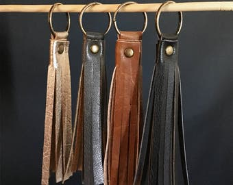 Faux Leather Tassel Keychain - Black Tassels - Gold Tassel Accessory - Handbag Tassel