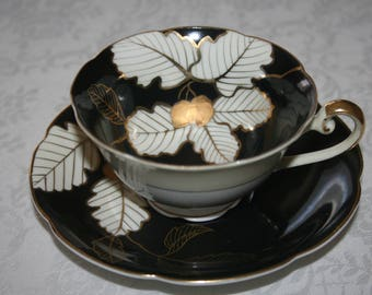 Vintage Diamond China Fine Bone China Made in Occupied Japan  Cup and Saucer White Black Gold