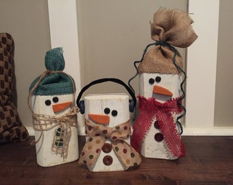 Simple Snowman Trio- Cute Winter Decor