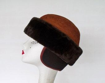 Leather Trapper Hat Fur / Flaps Winter Bomber Cap Sz Large Vintage Russian