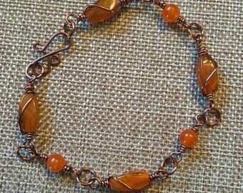 Wire Wrapped Beaded Copper Bracelet