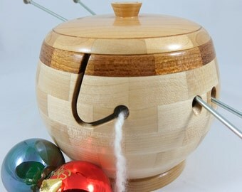Lidded Segmented Wooden Knitting/Yarn Bowl, Maple Body, Brazilian Cherry Rim, Lathe Turned, As Seen In Knit Wear and Interweave Magazines