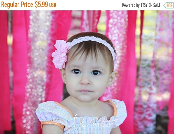 20% OFF SALE Light Pink Blossom Flower on Light Pink Stretch Lace. Perfect for a newborn! Use for photo sessions or everyday wear by Lil Mis