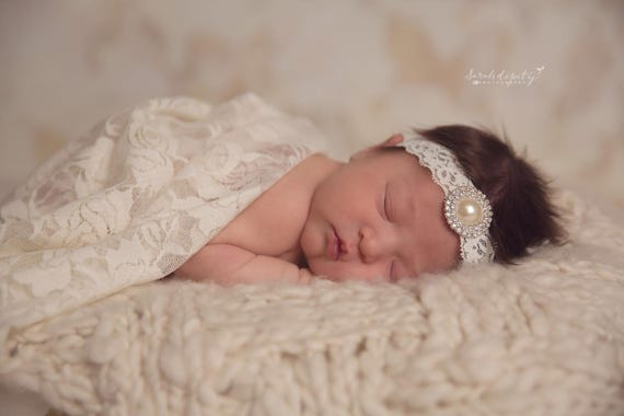 Ivory Stretch Lace Swaddle Wrap AND/OR Matching Headband for newborn photo shoots, baby swaddle blanket, lace wrap by Lil Miss Sweet Pea