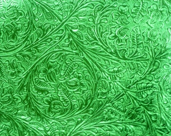 """Leather 8""""x10"""" EMERALD GREEN Metallic Western CIRCLE Cowhide 3-3.5 oz/1.2-1.4 mm PeggySueAlso™ E2812-05"""