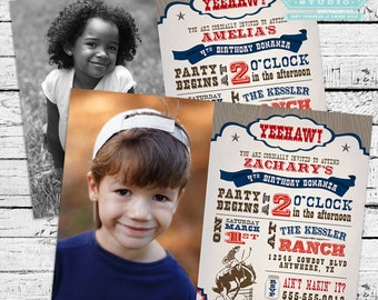 Vintage Cowboy Party Pack in Dark Blue - Photo Invitation and full printable party pack!