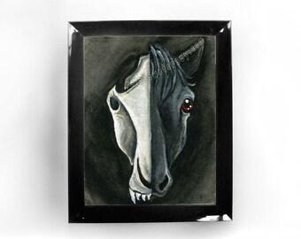 Black Horse Skull Print, Skeleton Art, Gothic Decor, Any Size, Black & White, Animal Illustration, Horse Lover, Goth Gift, Taxidermy Art