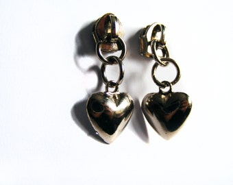 Zipper Heart Earrings - St. Valentines Day Earrings - Metal Zippers - Silver Jewelry - Gift for Her