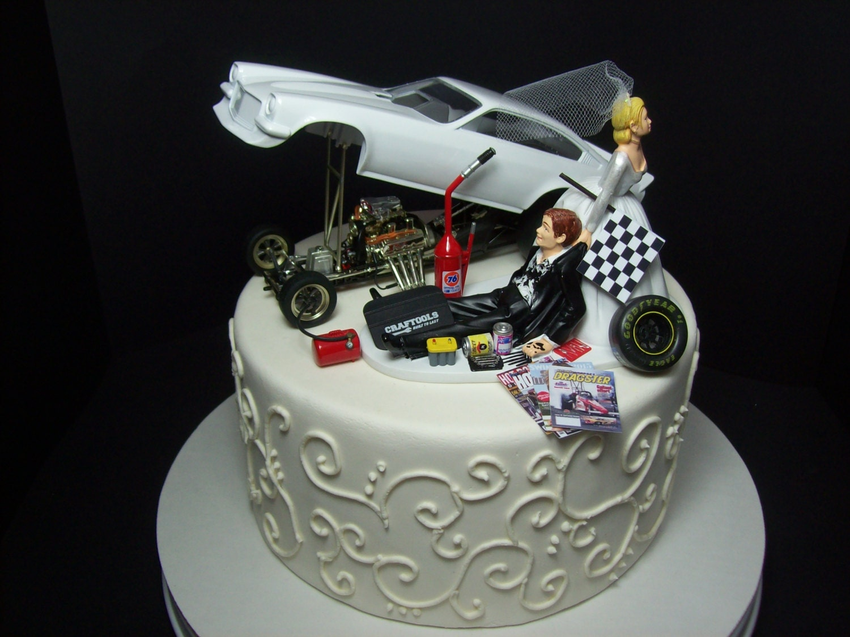 Funny Wedding Cake Topper For Mechanics Auto Mechanic Chevy