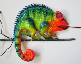 Chameleon wall decor, lizard wall hanging,reptile home decor