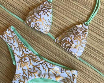 SOLD OUT Gold & Mint Seamless Scrunch Butt Cheeky Bikini