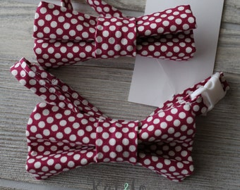 Boys  red dot bow tie made for newborn to age 12.