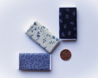 Dollhouse Miniature Set of Three Bolts of Fabric - The Blues Assortment, One inch scale, 1:12 Scale