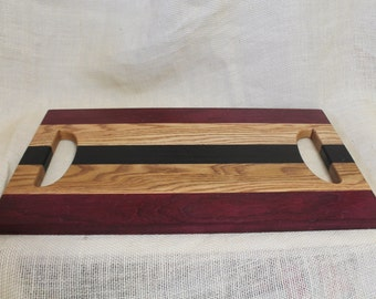 Purple Heart, Oak and Wenge Hardwood Tray / Cutting Board or Carving Board With Double Handles