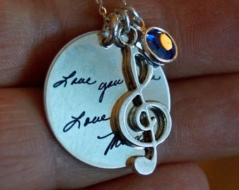 Personalized jewelry, personalized quote, musical charm, handwritten jewelry, memorial jewelry, handwriting necklace, handwriting jewelry