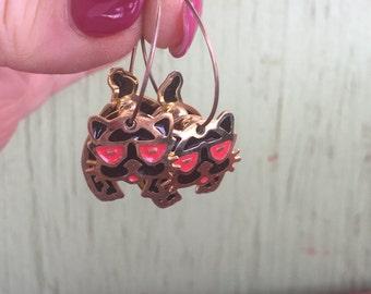 1- Cat Earrings Kitty Kitten Black Movable