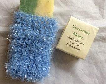 Handmade Cucumber Melon Soap with Soap Saver Bag