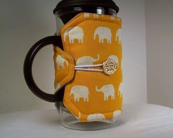 Elephants French Press Cozie, Insulated Coffee Pot Cozy, Bodum 8 Cup Press Pot Cosy, Hot Pot Sleeve Cozie