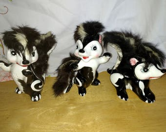 Three Vintage Skunk Figures With Hair 1950s Large Size Japan Kitch