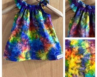 Infant Hippie/Boho Batik Summer Dress, size 6/9 months