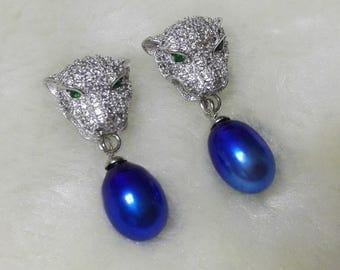 genuine pearl earrings, 925 silver earrings, blue freshwater pearl Leopard head earrings