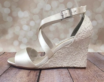 Ivory Wedding Shoes Lace Wedges Accessories
