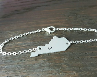 Custom State Pendant Bracelet- Home is where the heart is- Long Distance Gifts, Hand Stamped by Miss Ashley Jewelry