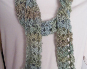 Lacy Sage Green and Tan Scarf