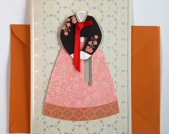 Hanbok with a red ribbon - Hanbok Card - Korean Traditional Cloth Hanbok