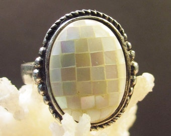 Mosaic Mother of Pearl 925 Sterling Silver Ring, Size