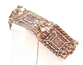 Sale! Victorian Sterling Silver Engraved Square Link Bracelet, Antique, 925