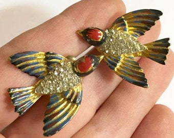 Vintage Gold Washed Sterling Silver Enameled Rhinestone Bird Earrings