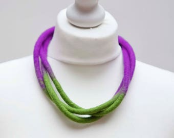 Felt Necklace, 3 Strand Necklace, Green and Purple Necklace