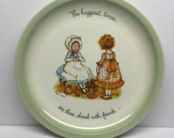 Holly Hobby Collector Plate 1972 The Happiest Times are Those Shared with Friends Large 10 inch