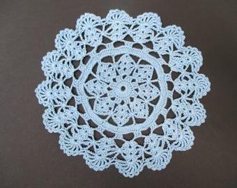 Crochet Doily - Delft Blue - 7 inch Diameter