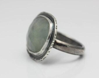 Aquamarine and Sterling Ring, Rose Cut Aquamarine Ring, Freeform Gemstone, March Birthstone, Size 7