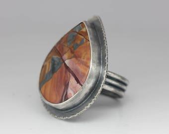 Mescalero Jasper Ring, Jasper & Sterling Ring, Boho Ring, Porcelain Jasper, Statement Ring, Unisex, Size 8 3/4