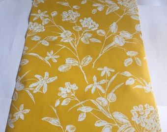 Vintage Wallpaper-1960s sweet white floral on gold-by the yard