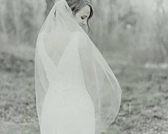 Fingertip Wedding Veil, Ivory Wedding Veil, Ivory Veil, Bridal Veil, Raw Edge, Cut Veil, Single Layer, Ivory Bridal Veil, Fingertip Veil